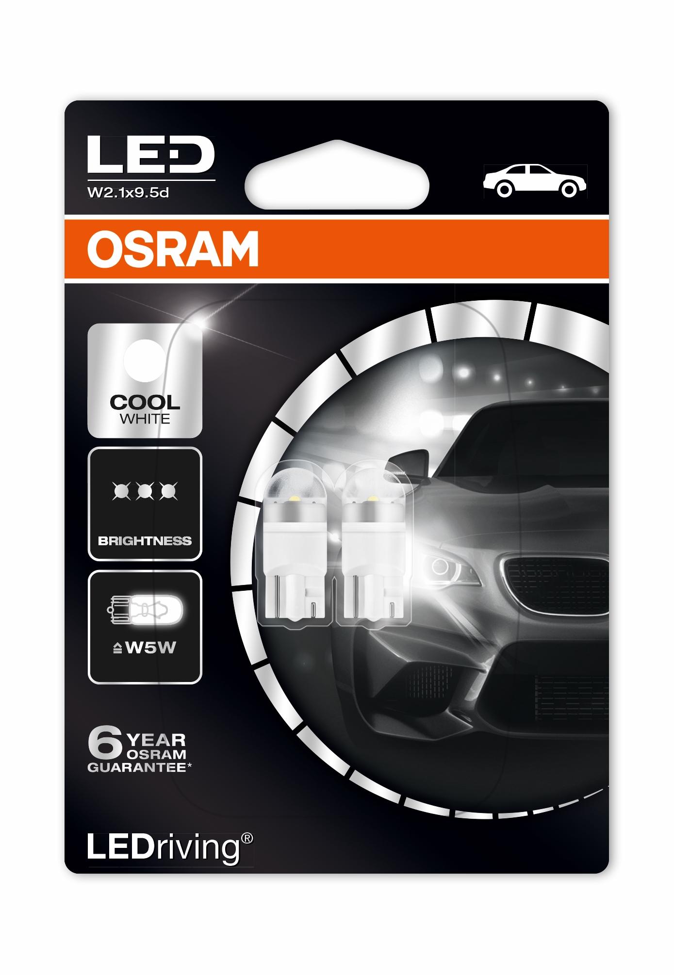 2 x osram w5w 501 t10 led 6000k high quality new. Black Bedroom Furniture Sets. Home Design Ideas