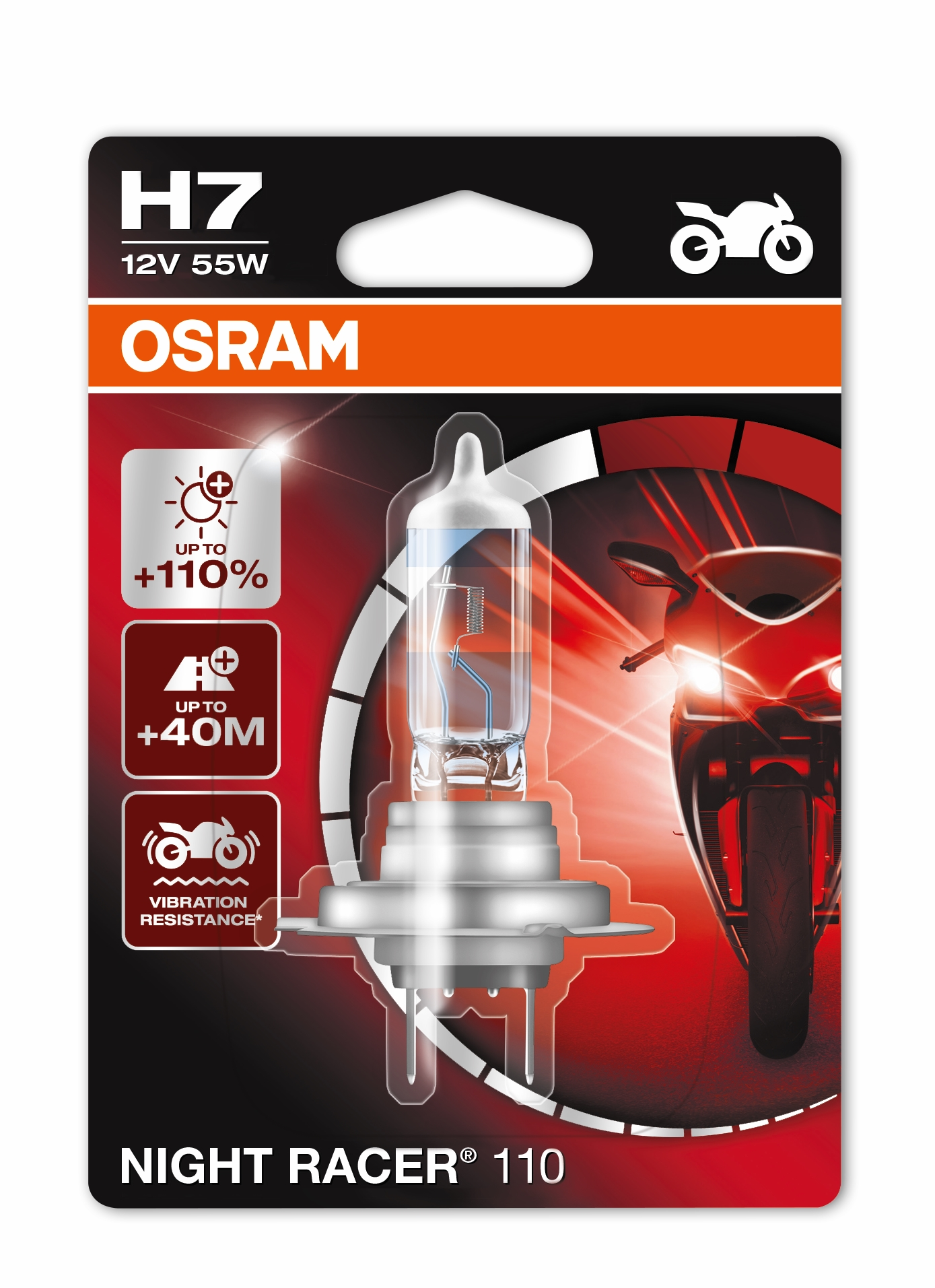 1x OSRAM H7 NIGHT RACER 110 BULB UPGRADE 55W 12V PX26D 64210NR1 MOTORCYCLE BULB